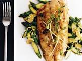 broiled bass with ginger scallion oil   stir fried asparagus