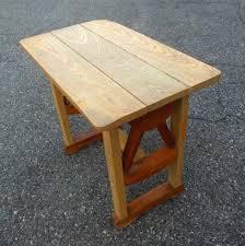 vintage ranch oak side table wagon wheel cowboy western texas monterey style
