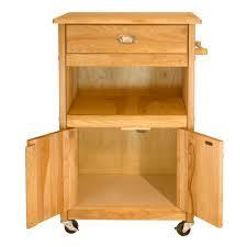Kitchen Storage Carts Cabinets Butcher Block Storage Cart With Drawer Open Shelf