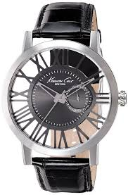 men s kenneth cole transparency leather strap watch 10020809