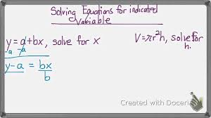 solve for indicated variable