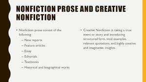 genres of literature fiction ppt video online  nonfiction prose and creative nonfiction