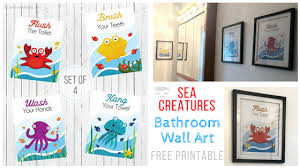 Free Printable Bathroom Art Awesome Sea Creatures Bathroom Wall Art FREE Printable Steph Burns Blog