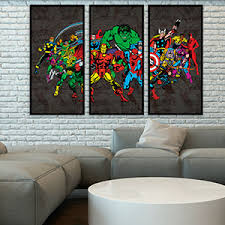 marvel comics retro three canvas wall art character line up ready to hang with hanging accessories on 3 piece wall art set with wall art best images three canvas wall art world art 3 panels