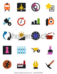 Train Chart Download Color Black Flat Icon Set Train Stock Vector Royalty Free