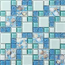 Find tile from a vast selection of decorative ornaments & plates. Hominter 11 Sheets Blue Ice Crack Glass Tile White And Teal Bathroom Wall Tiles Beach Style House Kitchen Backsplash Gc370 Amazon Com