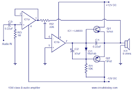 audio circuit diagram the wiring diagram audio amplifier circuit 15 watts class b circuit diagram