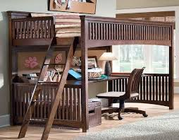 furniture natural wooden queen loft bed with desk underneath with neat arrangement with white wall