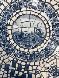 white toile cafe table mosaic