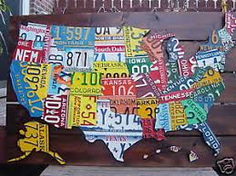 image is loading 3d usa license plate map art metal wall  on license plate map wall art with 3d usa license plate map art metal wall art all 50 states pub