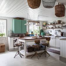 Kitchen:Shabby Chic Decor For Kitchen With Industrial Stools Also Light  Wood Flooring The Rustic