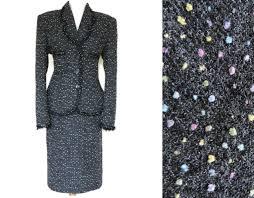 Designer Shoulder Pads 80s Designer Grey Boucle Skirt Suit Vintage 1980s Two Piece
