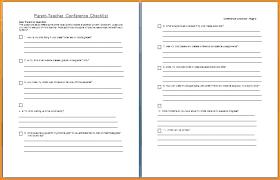 Parent Teacher Conference Form Template Blank Student Checklist Template Teacher Evaluation