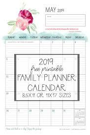 Free 2019 Printable Calendar Family Planner Organizer The