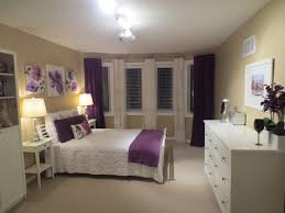 White, purple, beige, bedroom, ideas