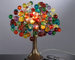 polyester multicolored bubbles table lamp handmade