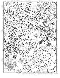 Snowflake Coloring Page Various Snowflakes Printable Etsy