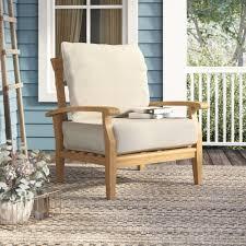 Birch lane heritage summerton teak patio chair with cushions reviews birch lane
