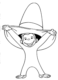 alt curious george coloring pages wearing hat funny curious george