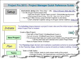 project management quick reference guide project management practice microsoft project pro 2010 for