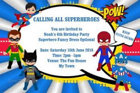 superheroes birthday party invitations personalised superheroes birthday party invitations superhero super