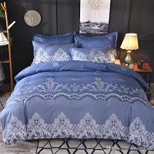 blue color lace pattern fl duvet cover bedding set with pillowcase single full queen king size multi size bedlinen velvet bedding cotton duvet cover