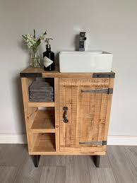 Rustic Industrial <b>Vanity</b> Unit / Washstand Finition en bois… | Déco ...