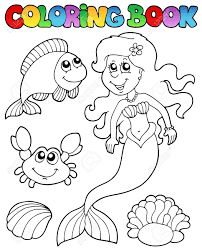 coloring book with mermaid vector ilration stock vector 9443074