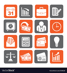 Silhouette Business And Office Icons Royalty Free Vector