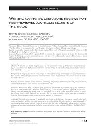 writing narrative literature reviews for peer reviewed journals writing narrative literature reviews for peer reviewed journals secrets of the trade pdf available