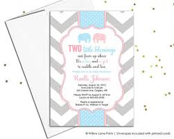 baby girl invite printable twin boy and girl baby shower invitation twin baby shower invite with elephants pink and blue chevron 795
