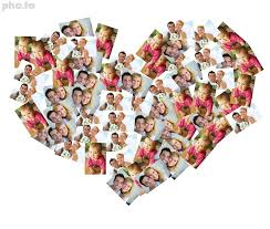 heart photo collage with family photos