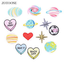 <b>ZOTOONE Planet</b> Patches Heart Stickers Diy Patch Iron on Clothes ...