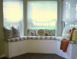 furniture for bay window. Large Bay Window Design With Half Way Lace Shade White Bench Comfy Bedding Furniture For L