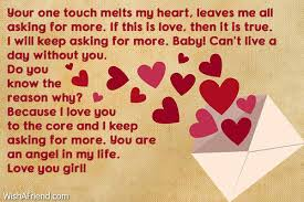 Your One Touch Melts My Heart,, Love Letters For Her