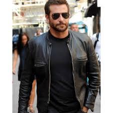 bradley cooper black sports leather biker jacket for men s2 800 800