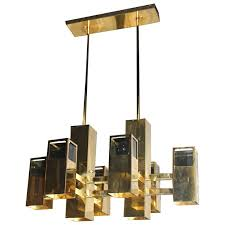 robert sonneman vintage brass and smoked lucite cityscape cube chandelier for