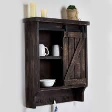 wooden wall cabinet sliding barn door shelves rustic bath kitchen decor brown