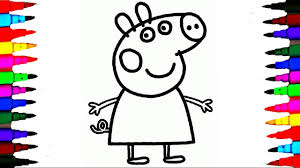 coloring peppa pig drawing pages l coloring book videos for brilliant kids l learn colors