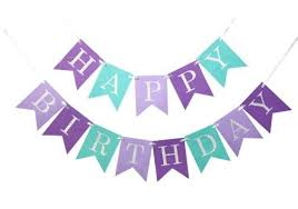 Purple Happy Birthday Banner Happy Birthday Banner Purple And Aqua Dont Miss The Party