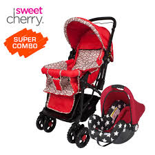 sweet cherry sc501 prego stroller lb323 muji carrier car seat combo set red