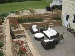 sunken patio using retaining walls to