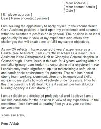 Patient Care Assistant Cover Letter Health Care Assistant Cover Letter Sample