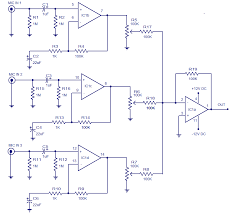 input microphone preamplifier electronic circuits and diagram 3 input microphone preamplifier circuit