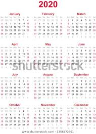 Calendar Yearly 2020 2020 Yearly Calendar 12 Months Yearly Stock Vector Royalty