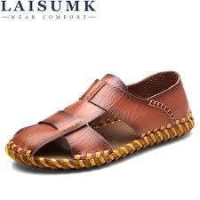 <b>LAISUMK</b> Mens Breathable Sandals Genuine Leather Sandals Men ...