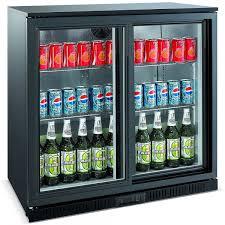 unitech bc20sbe sliding door back bar fridge