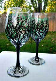 jumbo wine glass clear glasses hand painted with black tree branches and shades of green leaves jumbo wine glass