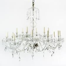large eighteen branch cut glass chandelier