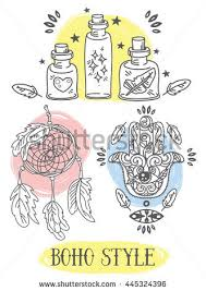 The Meaning Of A Dream Catcher Set Doodle Illustrations Tribal Style Flasks Stock Vector 93